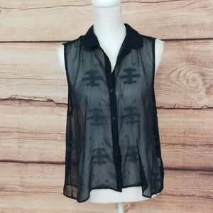 Hollister sheer black sleeveless top